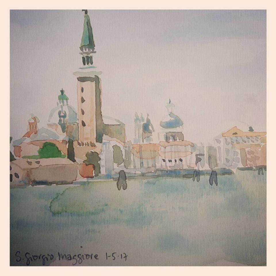 """Aquarel """"San Giorgio Maggiore"""", Venetië 1 mei 2017"""